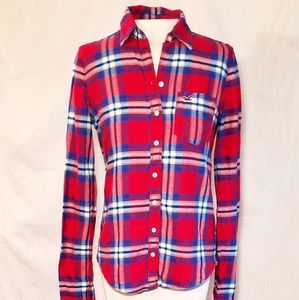 Red Plaid Flannel Button Up Hollister Top